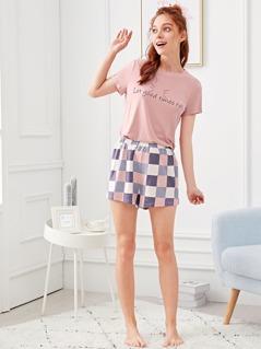 Letter Print Tee & Plaid Shorts PJ Set