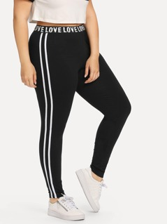 Plus Letter Print Striped Side Leggings