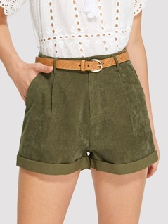 Pocket Patched Rolled Up Hem Shorts