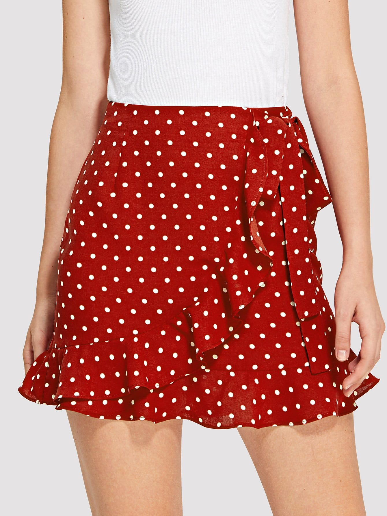 Knot Side Overlap Ruffle Trim Dot Skirt knot side overlap ruffle trim dot skirt