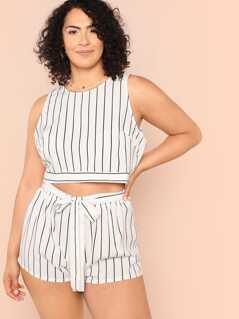 Plus Bow Embellished Striped Shell Top & Shorts Set