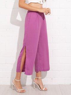 Split Solid Wide Leg Pants