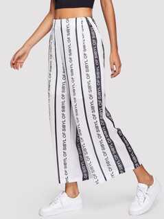 Letter Print Wide Leg Pants