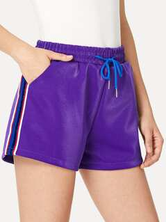 Waist Drawstring Side Striped Shorts