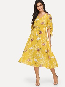 Crane Print Flounce Sleeve Dress