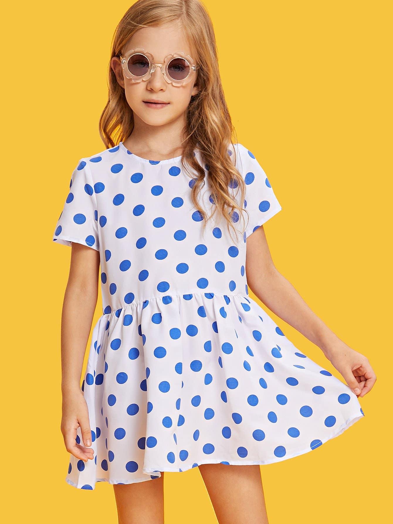 Girls Buttoned Keyhole Back Polka Dot Smock Dress buttoned keyhole front lantern sleeve embroidered smock dress
