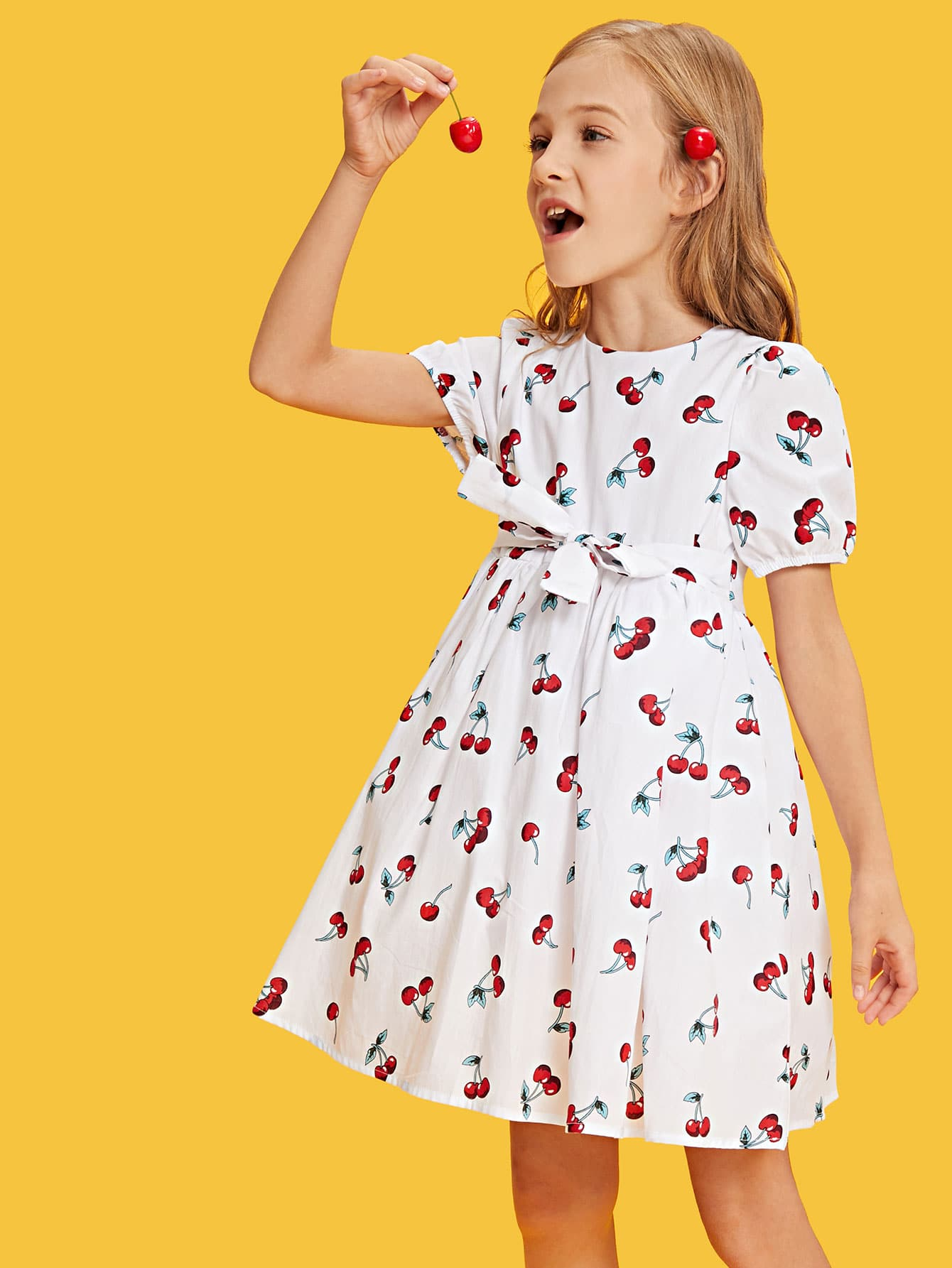 Allover Cherry Print Smock Dress allover cherry print tee