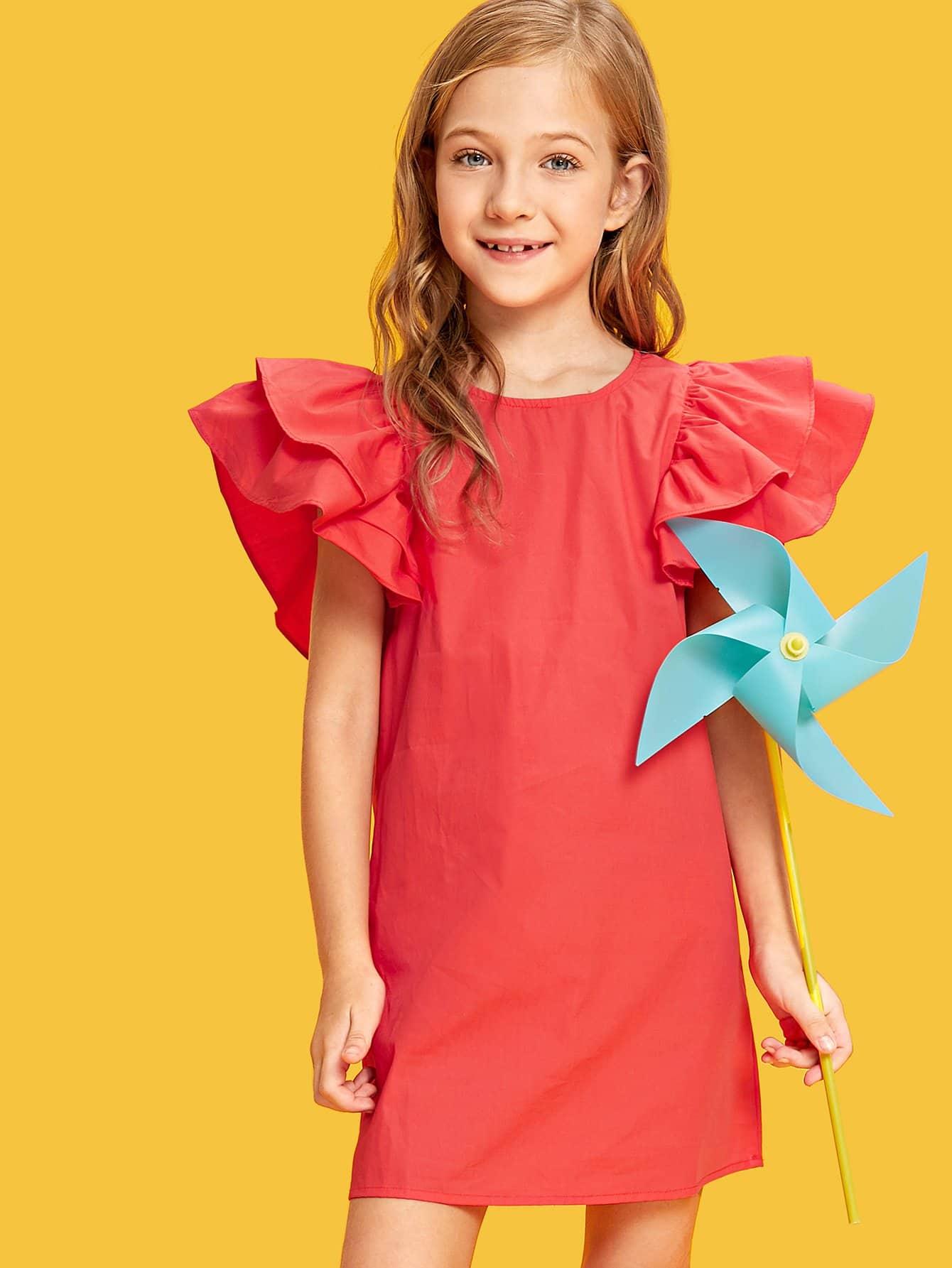 Girls Layered Ruffle Sleeve Dress мультиварка scarlett sc mc410s14 серебристый белый sc mc410s14