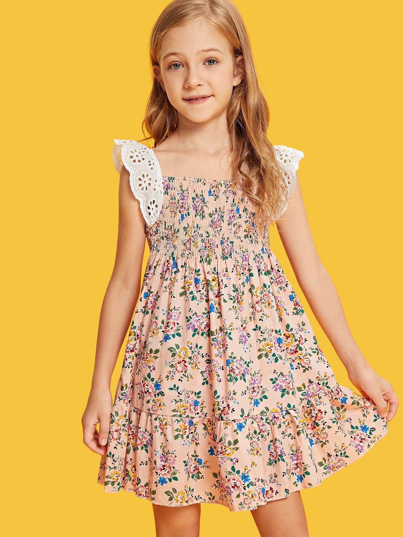 Girls Shirred Panel Ruffle Hem Floral Dress with Lace Strap ruffle hem grid dress with tied strap