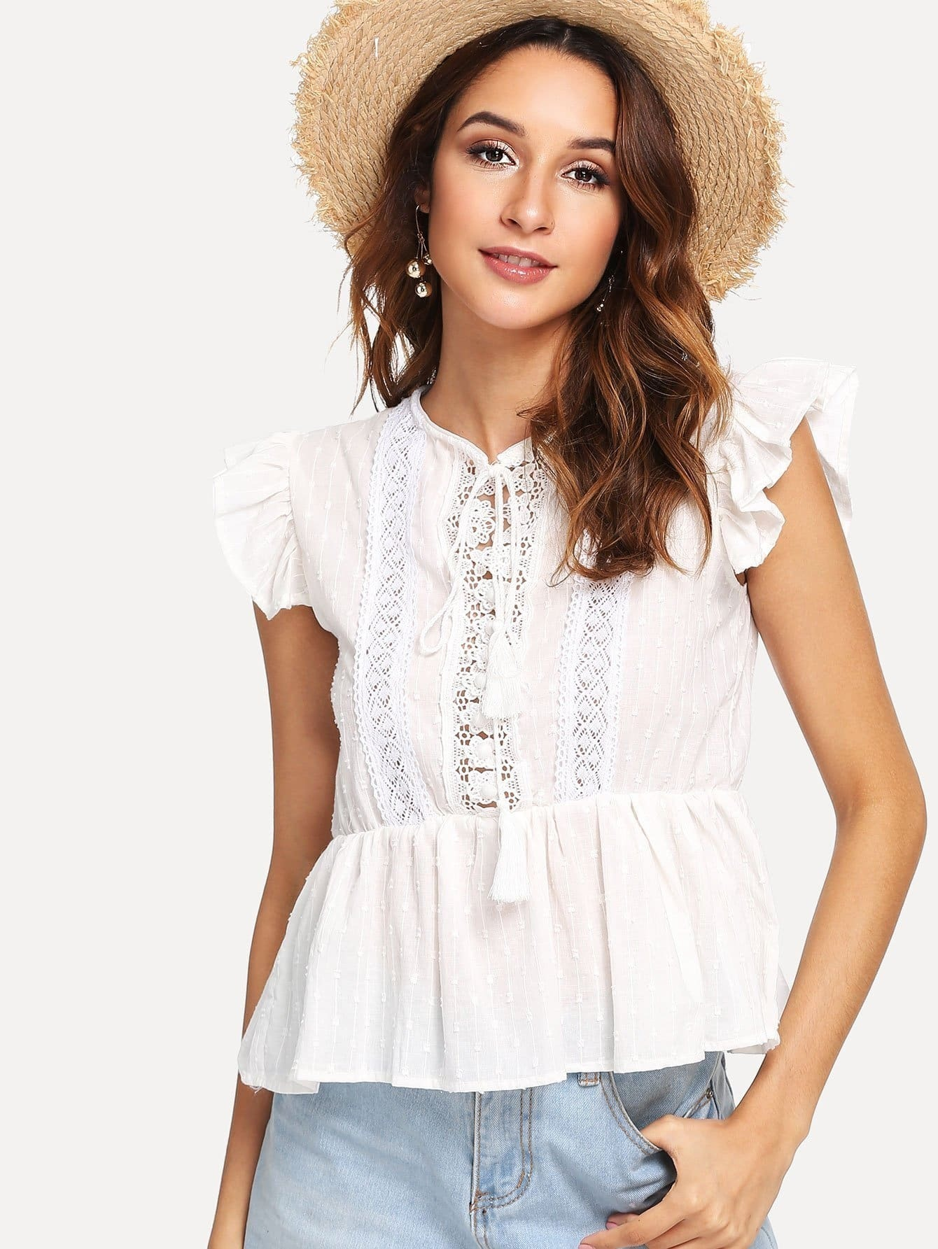 Layered Ruffle Trim Eyelet Embroidered Top mock neck eyelet embroidered ruffle top