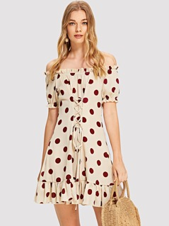 Lace Up Ruffle Hem Polka Dot Bardot Dress