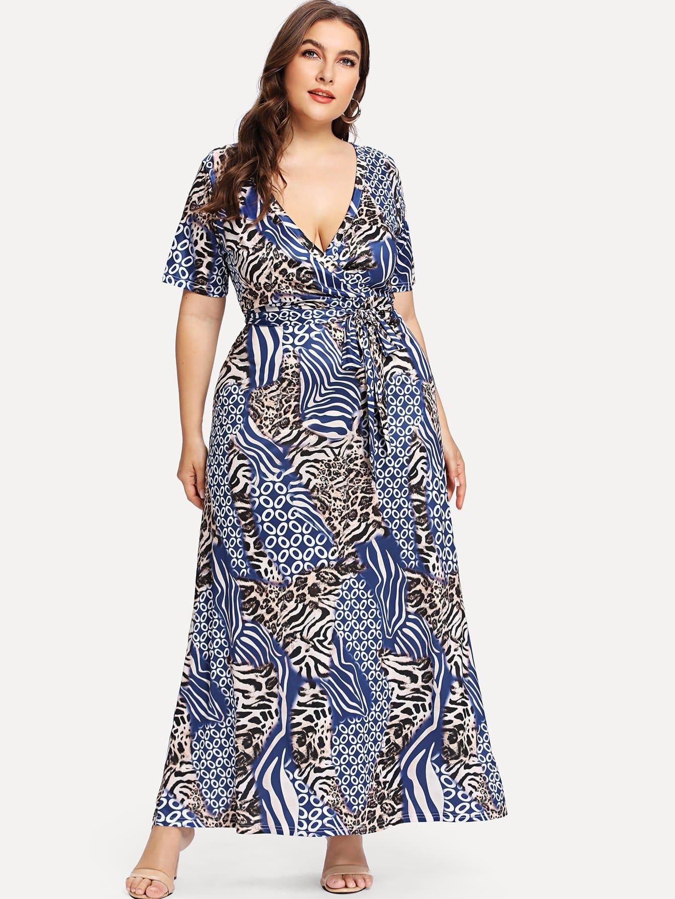 Mixed Print Wrap Dress mixed print dress