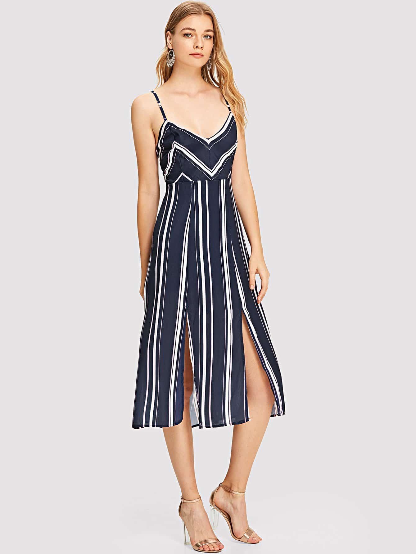Купить Платье с полосками и v-образным воротником, Teresa, SheIn