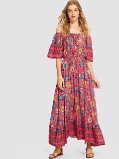 Tassel Tie Flower Print Bardot Dress