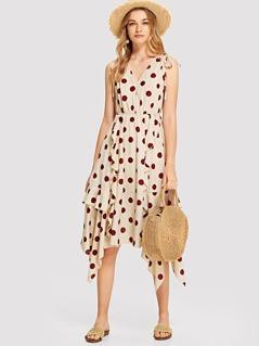 Drawstring Shoulder Ruffle Trim Asymmetric Polka Dot Dress