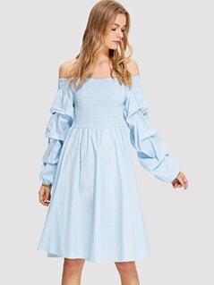Shirred Bodice Gathered Sleeve Bardot Dress