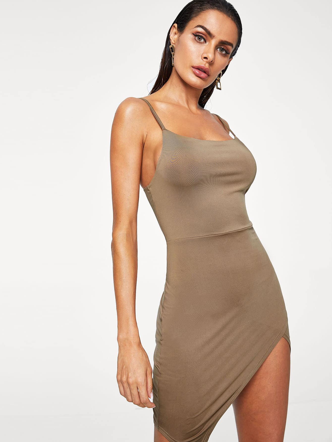 Overlap Asymmetrical Hem Cami Dress ruched overlap cami dress