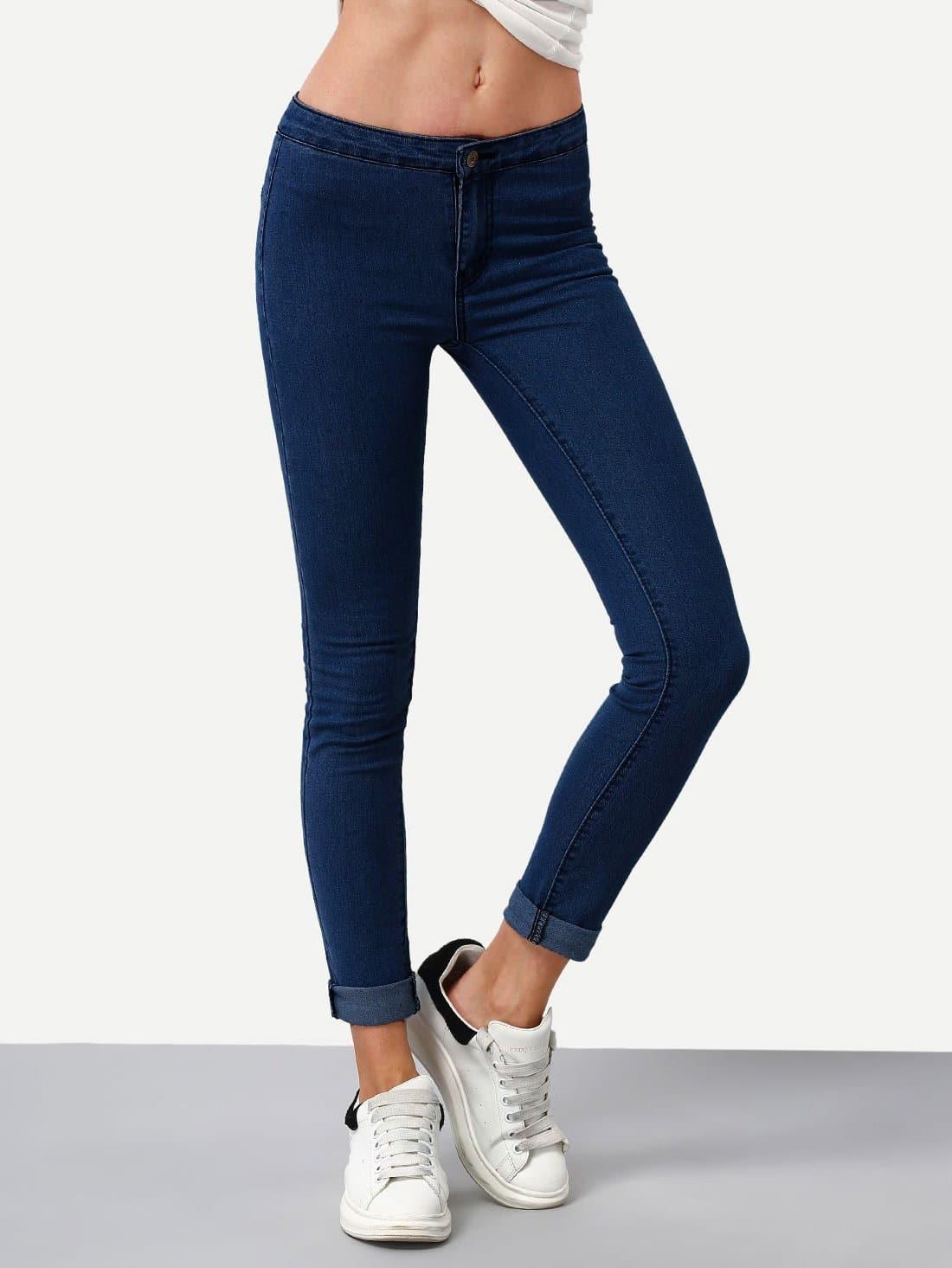 Купить Тёмно-синие модные джинсы, null, SheIn