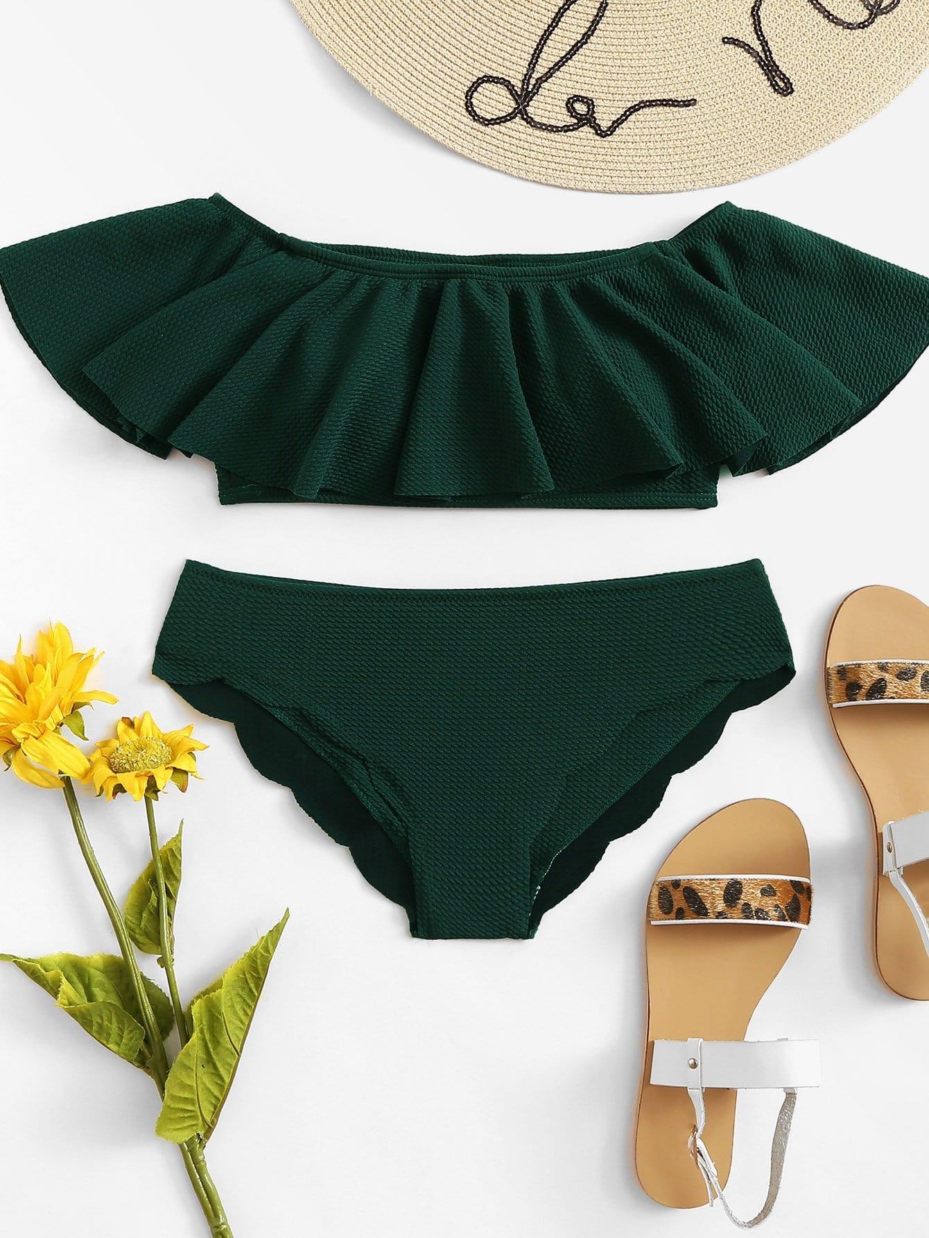 Scalloped Trim Flounce Bikini Set