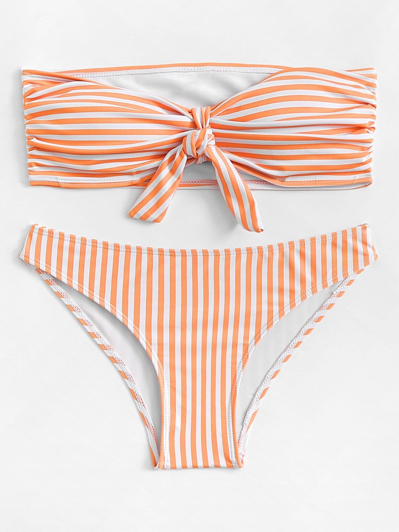 Фото - Knot Front Striped Bandeau Bikini Set knot front ruched detail bandeau bikini set