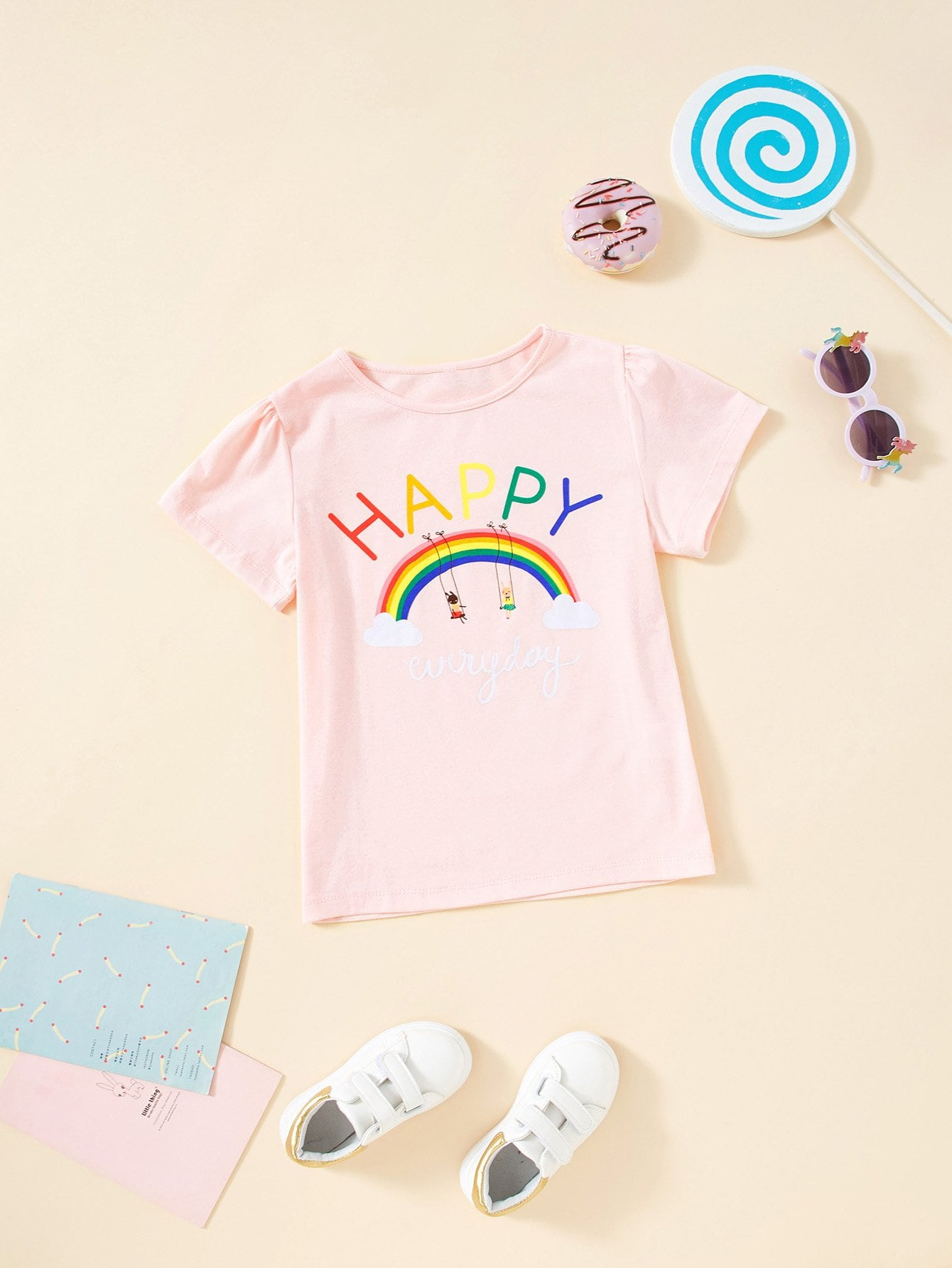 все цены на Girls Rainbow Print T-shirt