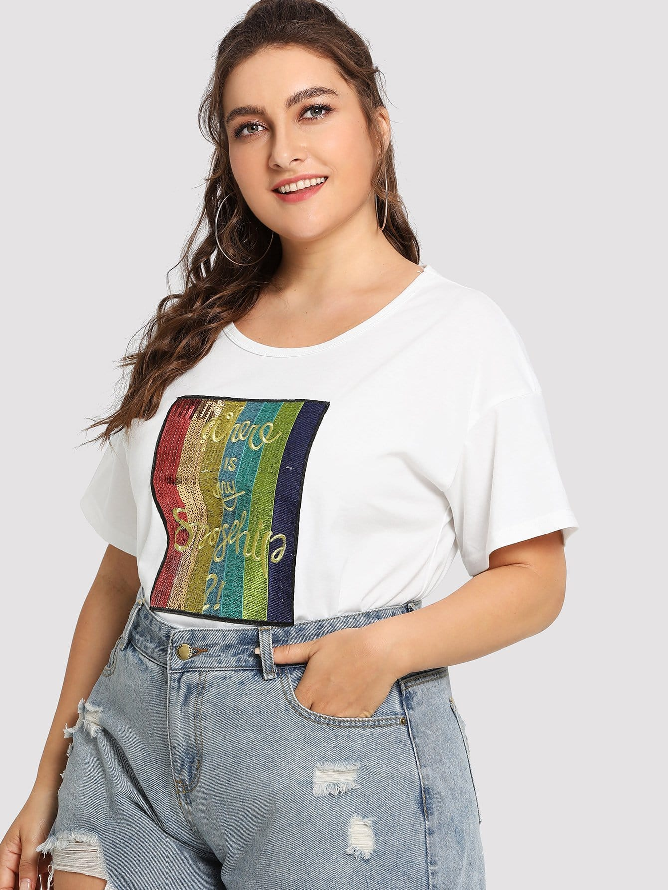 Plus Sequin Rainbow Embellished Front Tee цены