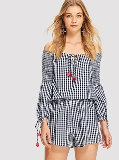 Pompom Embellished Gingham Blouse And Shorts Set