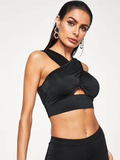 Crisscross Cut Out Crop Top