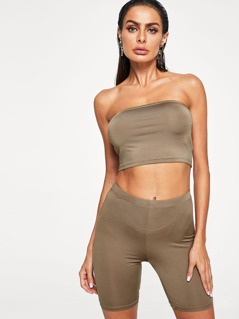 Solid Crop Bandeau Top