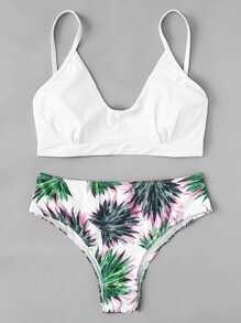 Leaf Print Bikini Set