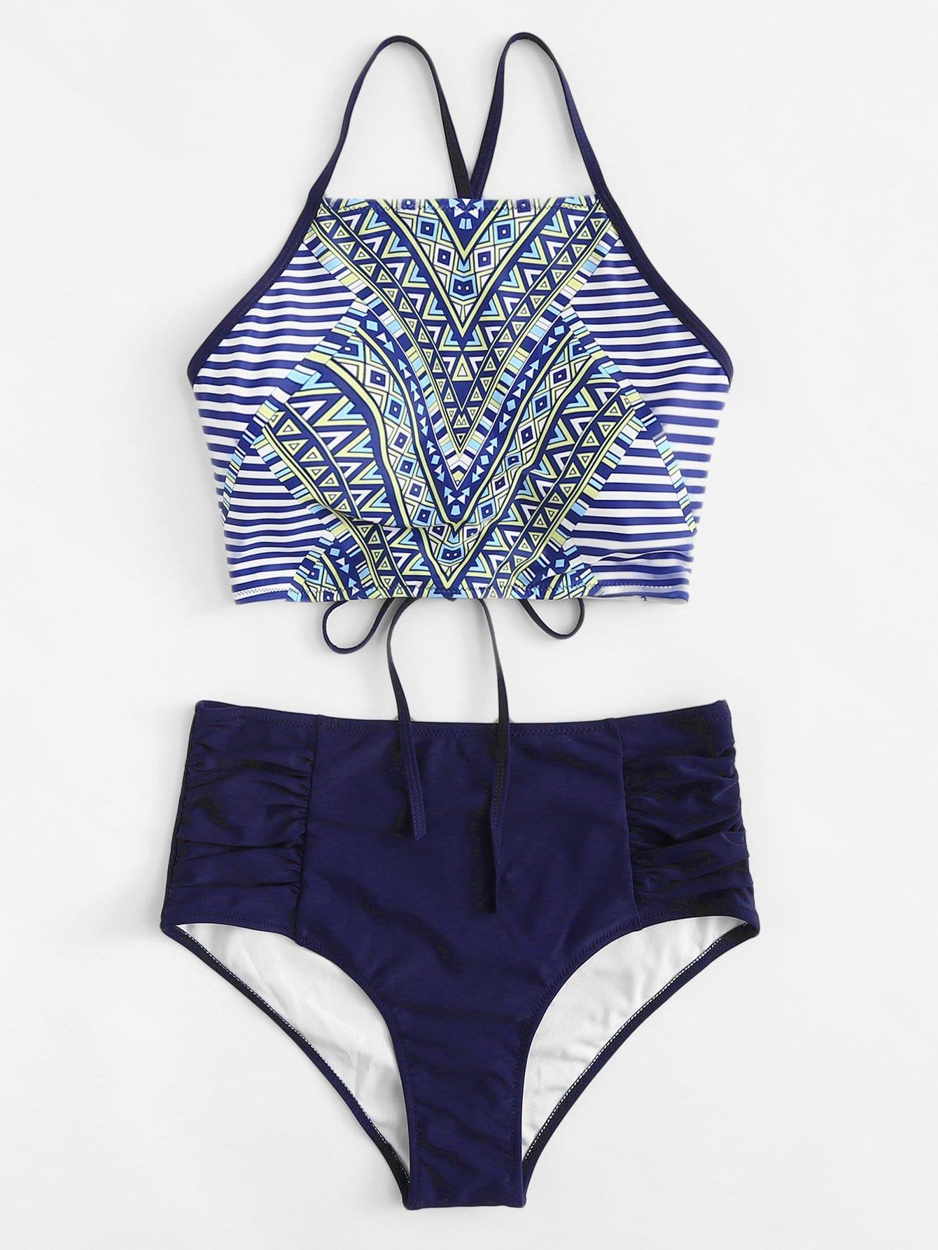 Criss Cross Striped Bikini Set criss cross bikini set