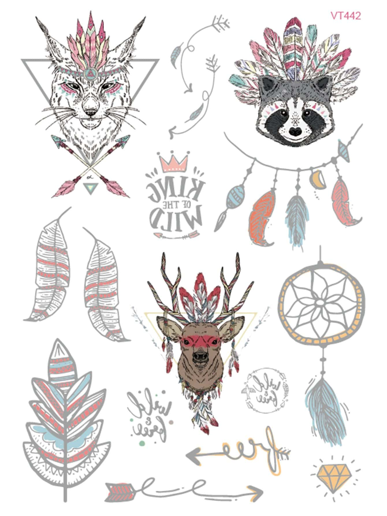 Animal Head Tattoo Sticker