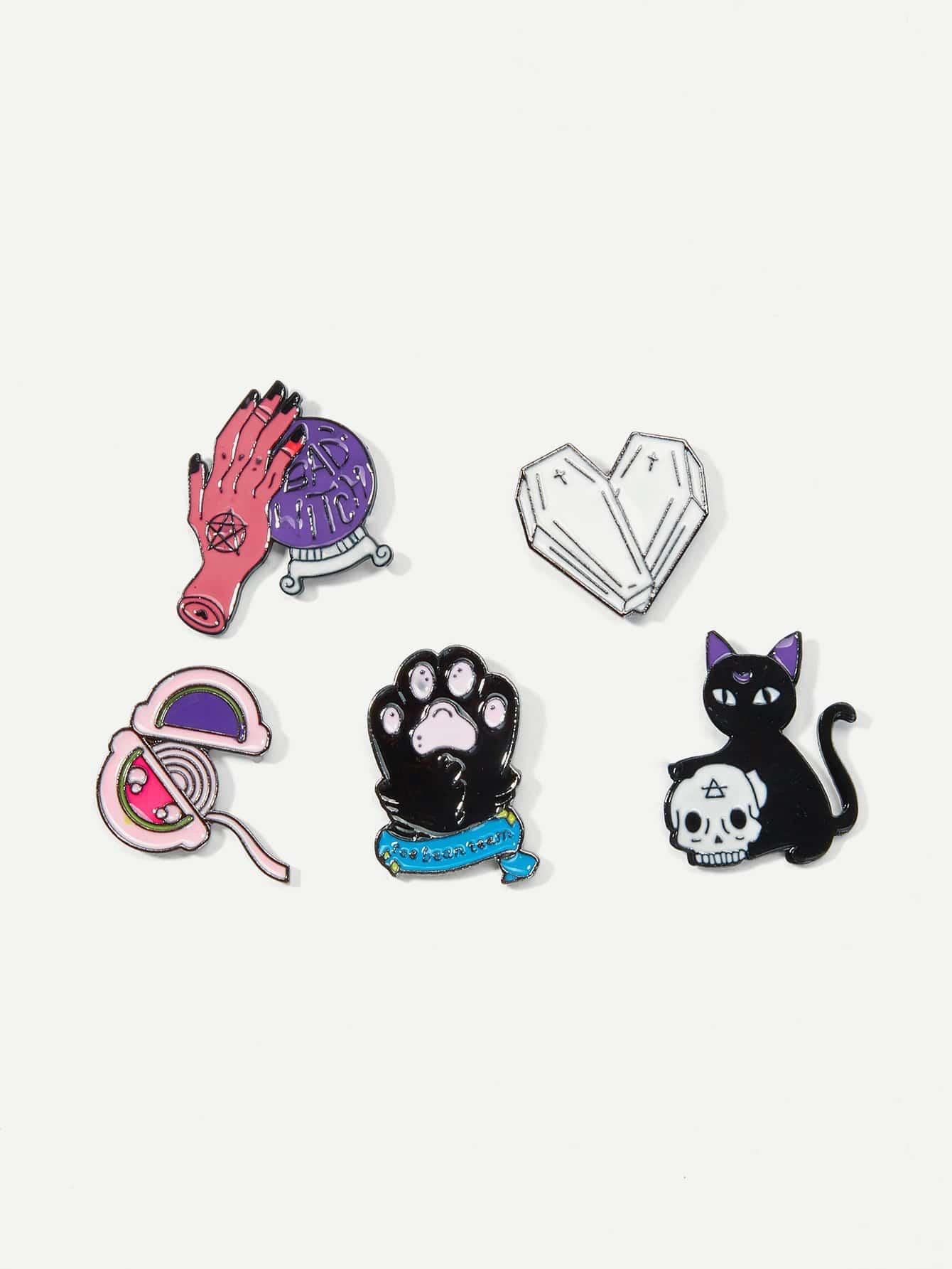 Cat & Hand Brooch Set 5pcs fashion girls pet hand bag brooch set