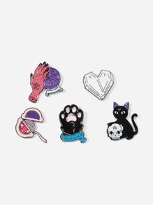 Cat & Hand Brooch Set 5pcs