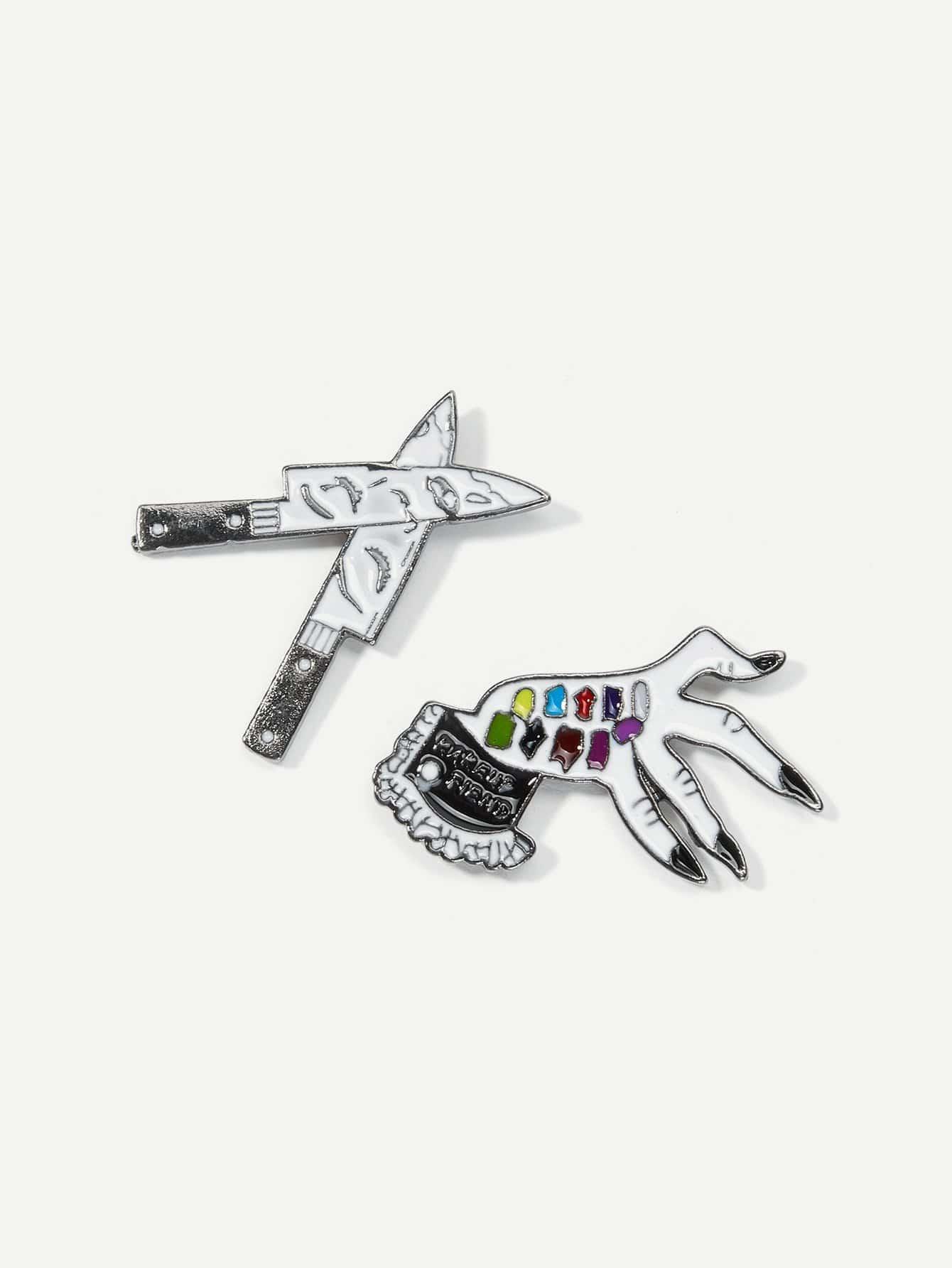 Knife & Hand Brooch Set 2pcs fashion girls pet hand bag brooch set