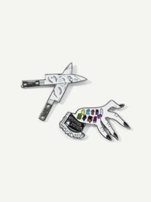 Knife & Hand Brooch Set 2pcs