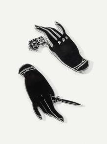 Hand Shaped Brooch Set 2pcs
