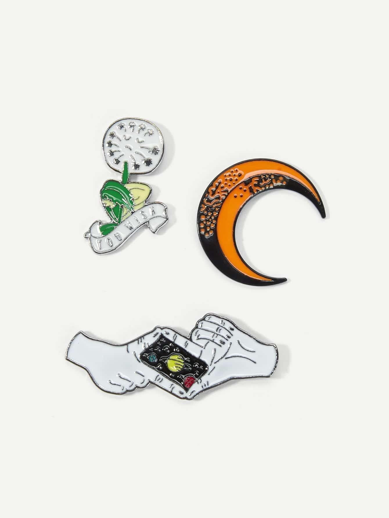 Moon & Hand Brooch Set 3pcs fashion girls pet hand bag brooch set