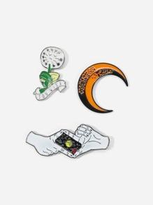 Moon & Hand Brooch Set 3pcs