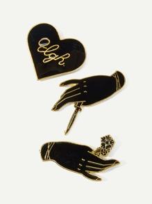 Hand & Heart Brooch Set 3pcs