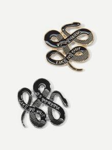 Snaked Shaped Brooch Set 2pcs
