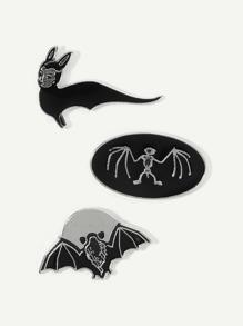 Bat Design Brooch Set 3pcs