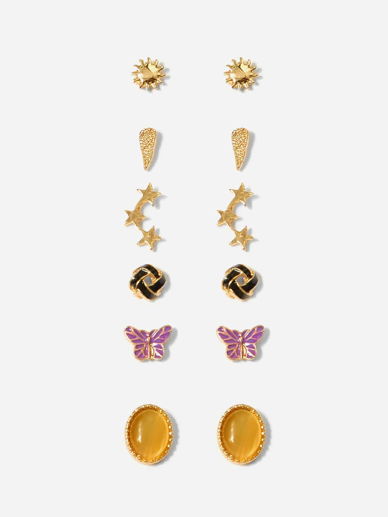 Butterfly & Gemstone Stud Earrings 6pairs