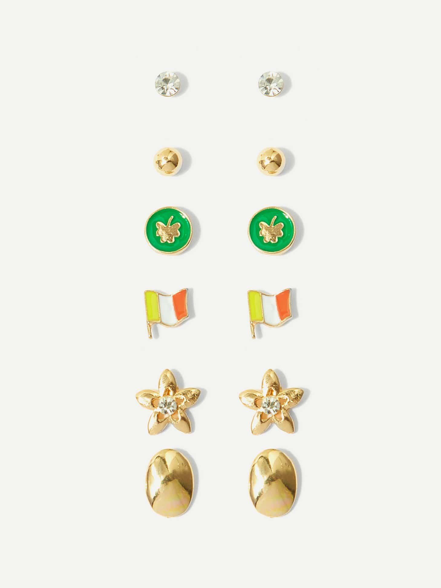 National flag & Flower Stud Earrings 6pairs