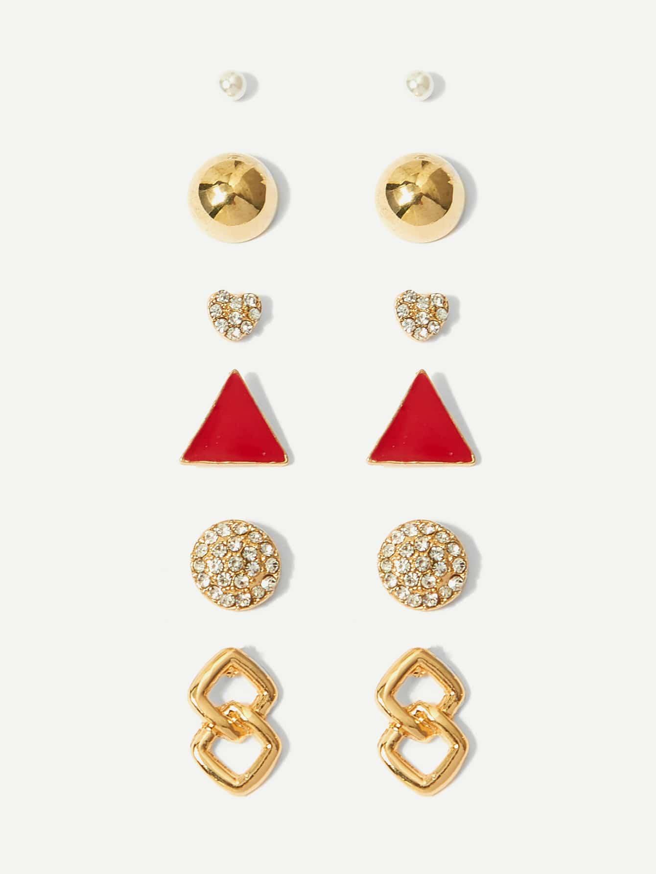 Triangle Detail Rhinestone Stud Earrings 6pairs vintage rhinestone triangle pendant earrings
