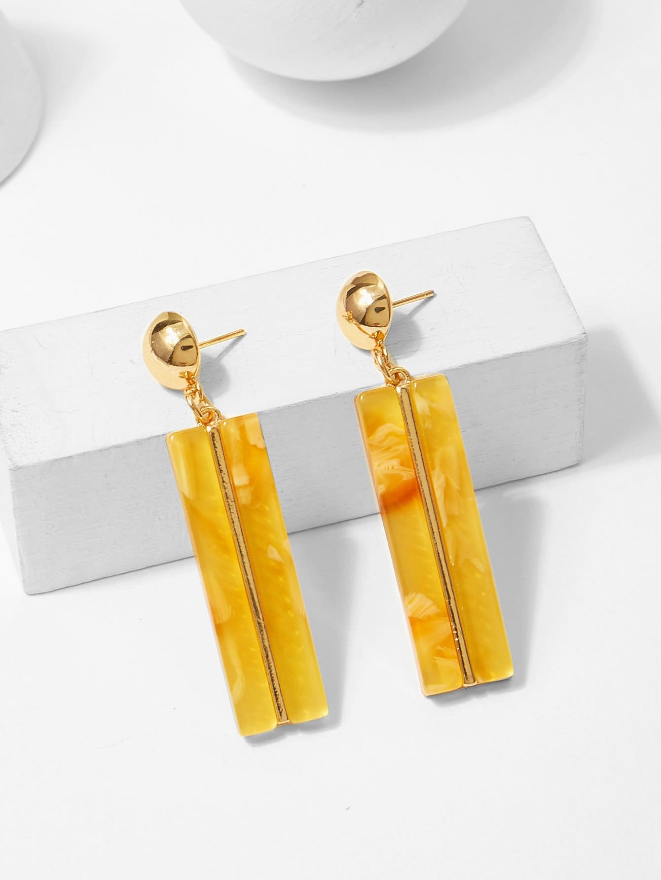Bar & Ball Design Drop Earrings