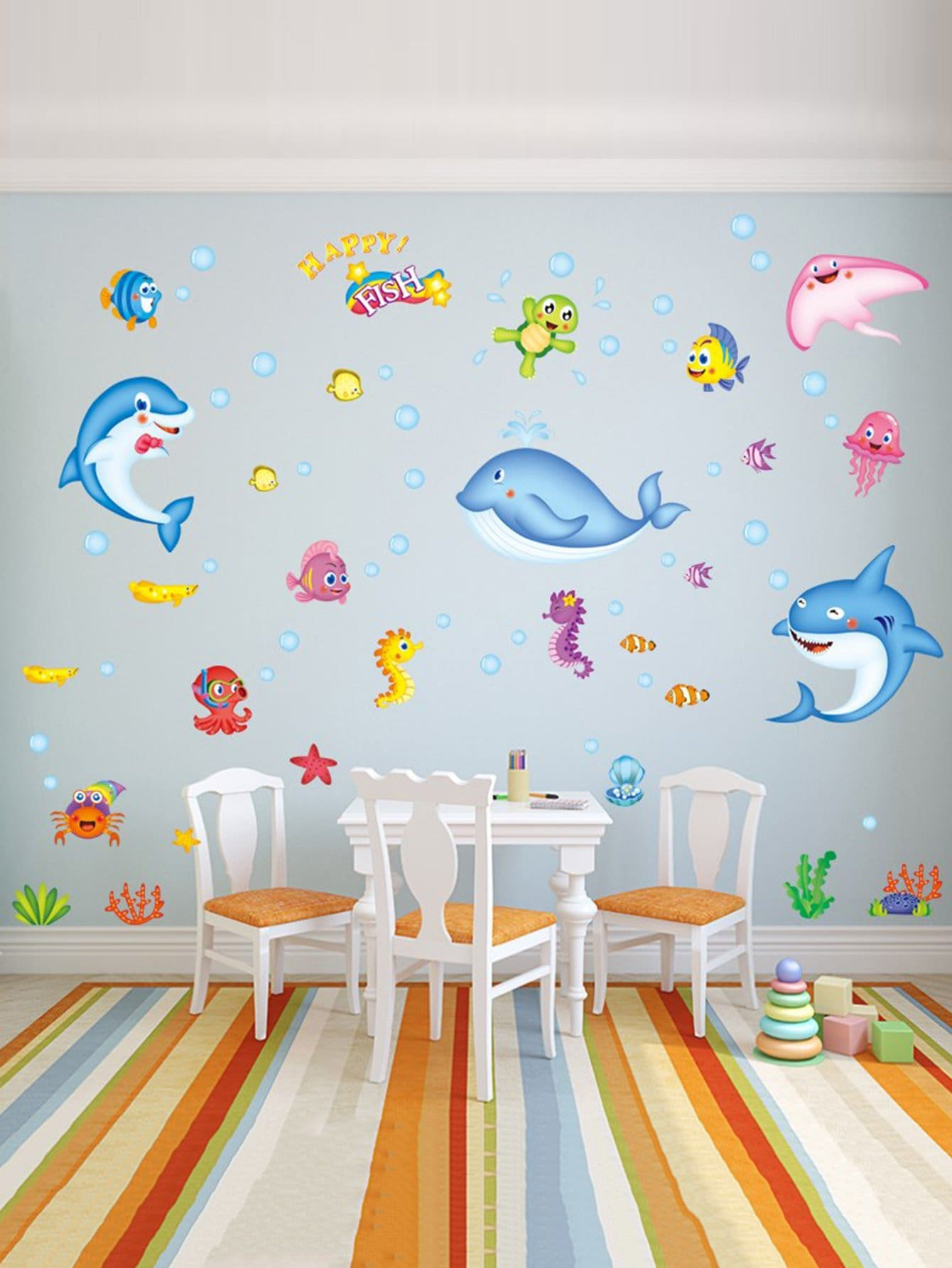 Ocean Fish Wall Sticker 45 pcs pack animal blue whale fish mini paper sticker diary decoration diy scrapbooking label seal sticker stationery