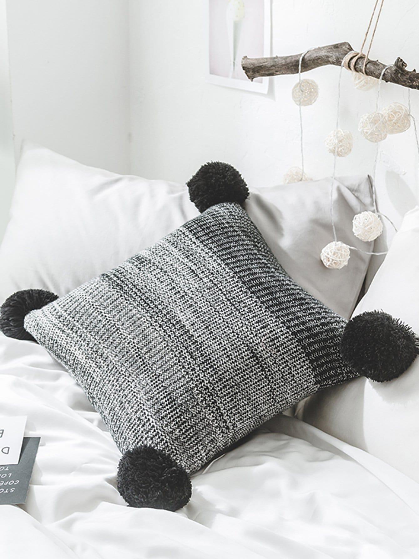 Pom Pom Trim Knit Cushion Cover pom pom trim knit cushion cover