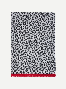 Leopard Print Fringe Hem Scarf