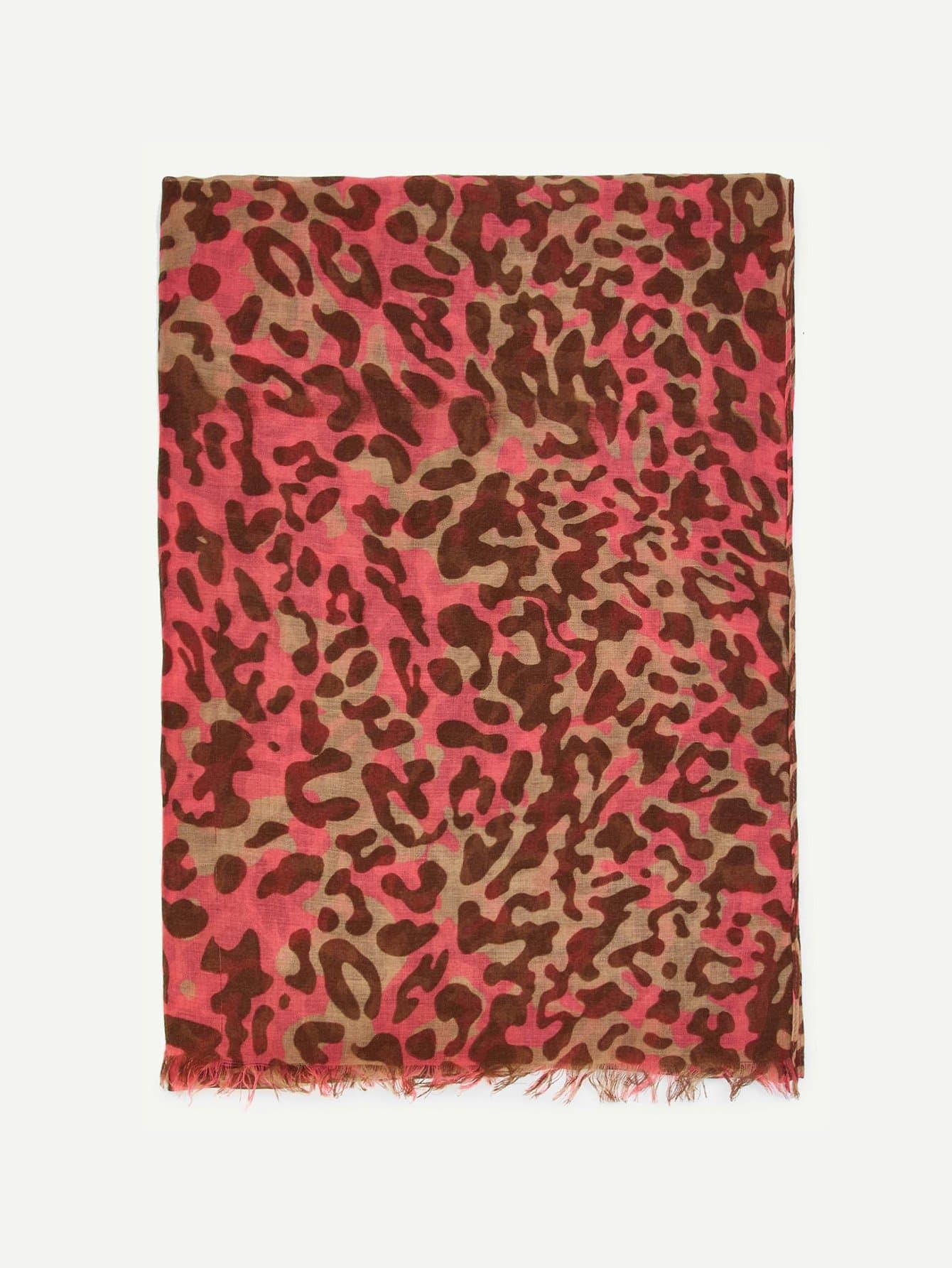 Leopard Print Frayed Trim Scarf